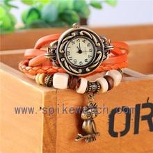 Wholesale owl or butterfly pendant women braided charm lady's bracelet watch