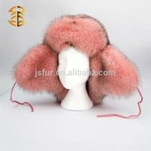 Fashion Pink Women 's High Quality Warm Winter Genuine Fox Fur Russian Style Fur Hat