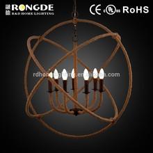 zhongshan moderna forma de bola de corda de juta do candelabro da lâmpada com as lâmpadas 7