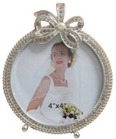 round 10x10 cm picture photo frame with rhinestones bowknot