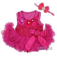 Baby Girls Crystal Rosettes Hot Pink Bodysuit Pettiskirt and Headband Party Dress NB- 18M
