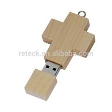 OEM custom logo wood usb stick in cross shape