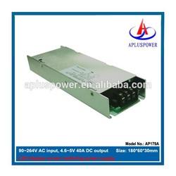 5v 40a slim led driver, 4.6~5v adjustable, 90~264V AC input
