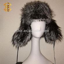 2015 Winter Fashion High Quality Genuine Silver Fox Fur Earflat Russian Style Fur Hat