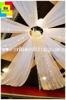 IDA wholesale fabulous white chiffon wedding ceiling drape, ceiling drape fabric for wedding stage decoration