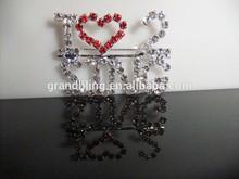"new fashion rhinestone brooch unique custom word pin handmade jewelry ""I LOVE TO/SING "" Pin"