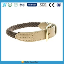 Cotton Rope and Leather Dog collar