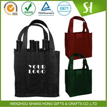 Alibaba China Cheap customized Printed 6 bottle wine carrier bag