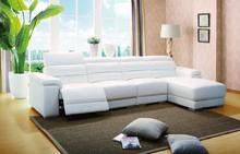 Elegant white color leather recliner Sofa living room furniture recliner leather sofa set