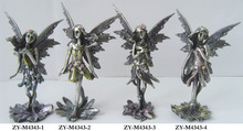 fairy figurines with fruit, elegant styles , pewter color with hand painting,