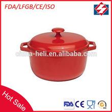 Round porcelain cast iron cookware