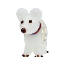 Wholesale Arctic Puppy, Polar Bear Buddy Murano Glass Bead with 925 Sterling Silver Tube For European Bracelets