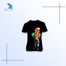 best selling patterned black V neck 100% cotton compressed woman t- shirt