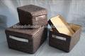 Lided falsos de paja tejido de cestas con asas de cuero h-140952