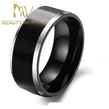 Fashion men black gold ring/Gold Tungsten Carbide Ring