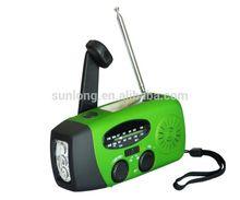 AM/FM radio mobile charger hand crank generator hand dynamo flashlight