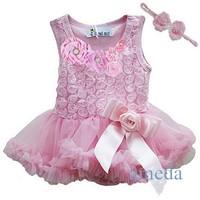 Baby Girls Crystal Rosettes Light Pink Bodysuit Pettiskirt and Headband Party Dress NB- 18M