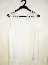 HIJ-14-LB-13-005 White sleeveless woman blouse