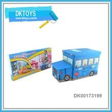 School Bus Shape Children Storage Stool Toy Storage Seat Box
