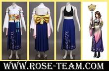 Sunshine-Final Fantasy X Yuna uniform clothes long dress Manga Amime game Cosplay Costume halloween Christmas Party