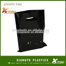Black color plastic shopping die cut bag