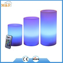 SET OF 3PCS COLOR CHANGING LED CANDLE WITH 18 BUTTON REMOTE CONTROL