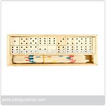 Classic Domino&Mikado games wood travel set,wood box,PY7031