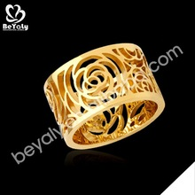 Boutique flower female shiny fashion new design gold ring