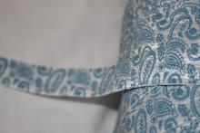 "4 yards White Denim Blue Paisley foldover stretch elastic Hair Ties 5/8"""