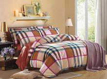 plaid sanding bedding set 100% cotton bed set comforter quilt duvet cover flat Sheet FYNSC3 Queen/King size