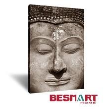 Rustic Buddha Face Picture Wall Art Canvas / Zen Buddhism Meditation Peaceful Yoga Wall Art