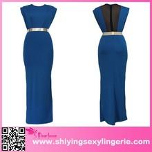 Blue Belted Sexy Sleeveless Maxi Dress china wholesale