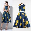 Nueva colección de moda 2015 de primavera y verano pista traje de la mujer estampado floral de cultivos tops+a- línea larga falda( 1set) ropa casual conjunto