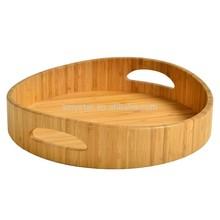 Round bamboo serving tray breakfast tray tea tray with handles