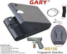 Wholesale- MS100 Micro Vault Portable Fingerprint Biometric Mini handgun Pistol Security Storage Steel Safe Box / Gun Vault