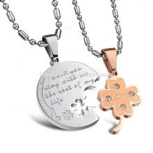 Titanium steel jewelry wholesale diamond flower lovers are titanium necklace missing clover