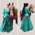 Sol- frete grátis custom made sulista guerra civil vestido verde medieval traje vestido vestido