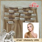 Hot sale full head clip in hair extensions clip in human hair extensions double drawn clip in hair extension