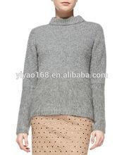 2015 côtelé laine col montant chandail vente chaude mode femmes chandail nouvelle arrivée chandail