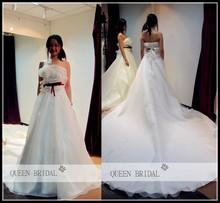 2015 QUEEN BRIDAL Latest Custom real photo A-line strapless red sash organza garden wedding dresses