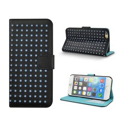 Dot Pattern Leather Case For iphone 6 Wallet Stand Flip Cover Case