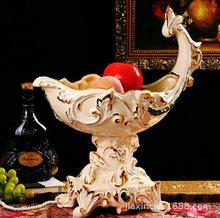 European-style boutique selling upscale decor boutique fruit plate color ivory ceramic basket Heliconia Home Decoration