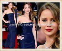 2015 new long elegant navy blue taffeta mermaid cheap celebrity red carpet dresses