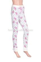 Women Waffle Flower Printed Cotton Skinny Lounge Pants Legging Pants