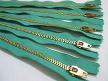 YKK Metal Teeth Zippers Kelly Green & Gold Metal Zippers multipurpose gold color teeth brass zipper