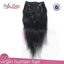 Best selling strong weft virgin cheap 100% human hair clip in hair