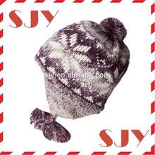 custom jacquard fur pom pom earflap knitting children's winter hat