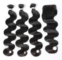 "Wholesale 22"" human hair 3 bundles+1 lace closure 7a remy virgin Brazilian body wave hair"