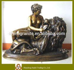sexy lady bronze sculpture lion statue