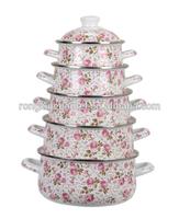 Enamel casserole set enamel cookware flower pot hot selling enamel pot